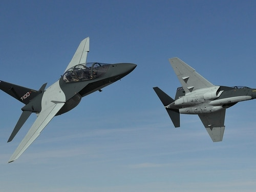 The T-100 is one of three competitors vying for the Air Force's new T-X trainer competition. A continuing resolution would threaten the awarding of the contract. (Leonardo)
