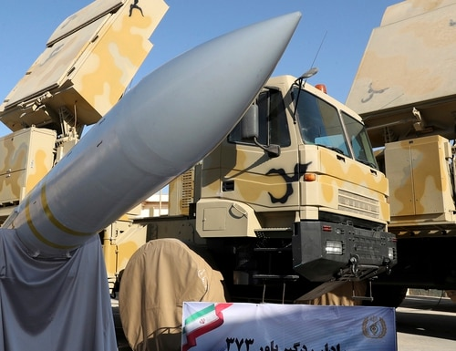 The Iran-made Bavar-373 air defense missile system is seen after being unveiled by President Hassan Rouhani on Aug. 22, 2019. (Iranian Presidency Office via AP)