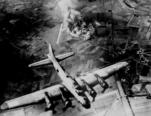 The first big raid by the Army's 8th Air Force was on a Focke Wulf plant at Marienburg in 1943. Coming back, the Germans were up in full force and they lost at least 80 bombers and 800 men. Planners balanced the importance of destroying the aircraft plant with potential civilian casualties. (National Archives)