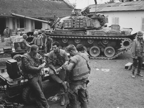 U.S. Marines at a forward command post in the city of Huế, during the Battle of Huế, Vietnam War, February 1968. (Terry Fincher/Daily Express/Hulton Archive/Getty Images)