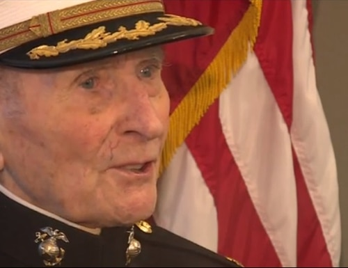 """I'll save every one of them like I've been saving little things that have come up until right now and they'll be a personal part of my history,"" retired Marine major Bill White told KTXL. (KTXL screenshot)"