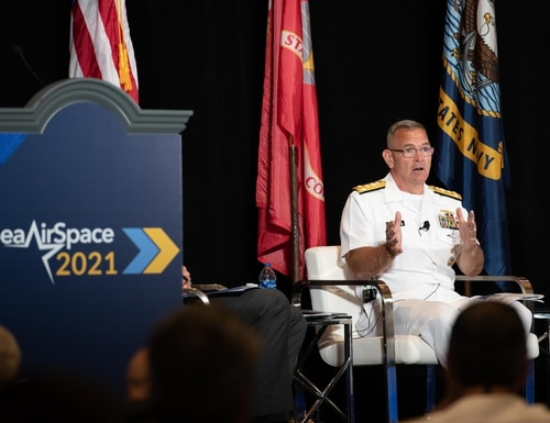 """Vice Adm. Jeffrey Trussler, Deputy Chief of Naval Operations for Information Warfare, speaks in the """"Cyber: Today's fight, Tomorrow's Capabilities"""" panel at the Sea-Air-Space 2021 exposition. (Mass Communication Specialist 2nd Class Almagissel Schuring/U.S. Navy)"""