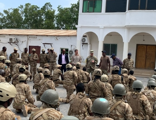 U.S. Army Gen. Stephen Townsend, commander of U.S. Africa Command, addresses personnel from the Puntland Security Force on Feb. 13, 2020, in Bosasso, Somalia. (USAFRICOM)