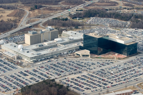 The National Security Agency (NSA) headquarters at Fort Meade, Maryland, as seen from the air, January 29, 2010. (Photo credit: Saul Loeb /AFP/Getty Images)