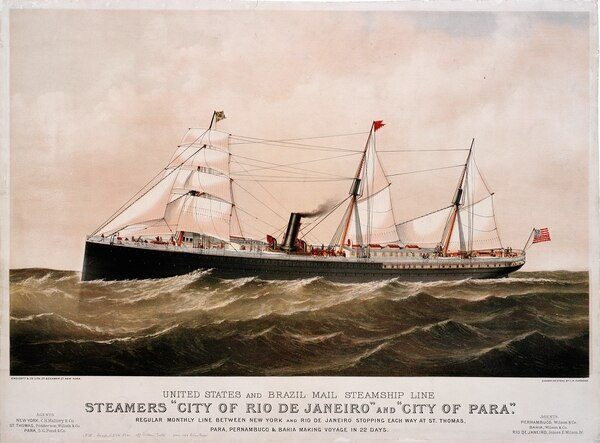 Advertisement for the SS City of Rio De Janeiro and SS City of Para under the flag of the United States and Brazil Mail Steamship Line. SS City of Rio De Janeiro was originally intended for Atlantic trade before being purchased by the Pacific Mail Steamship Company in 1881 for transpacific trade. (Mystic Seaport/ National Park Service)