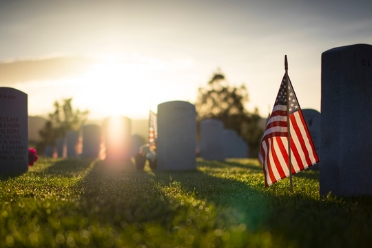 Dawn breaks over the Idaho State Veterans Cemetery on Memorial Day, May 26, 2014, in Boise, Idaho. (Tech. Sgt. Samuel Morse/Air Force)