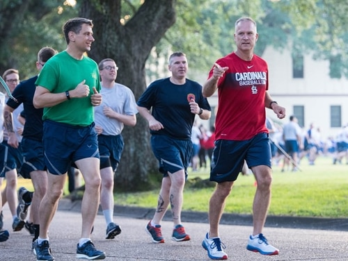 Col. Michael Miller, commander of Barksdale Air Force Base in Louisiana, during a 1.2-mile resiliency run. Miller was criticized online for comments he made regarding suicide before the run. (Barksdale Air Force Base)