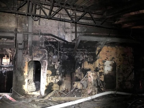 Photos circulating online show the damaged interior of the amphibious assault ship Bonhomme Richard, which burned for more than four days this week. A Navy official verified the photos' authenticity. (Twitter)