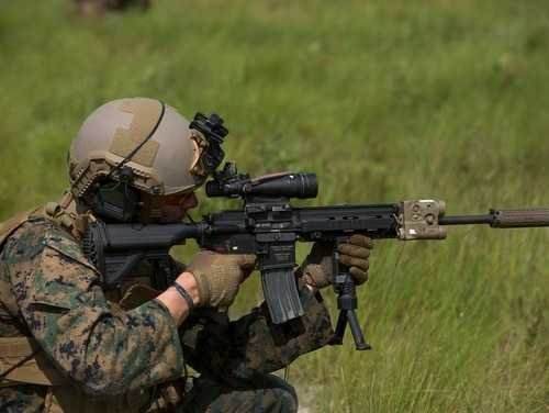 Rumors have been buzzing since July, when images from 1st Battalion, 6th Marine Regiment, showed grunts kitted out in new tactical vests, headsets and Ops-Core helmets. (Lance Cpl. Justin Toledo/Marine Corps)