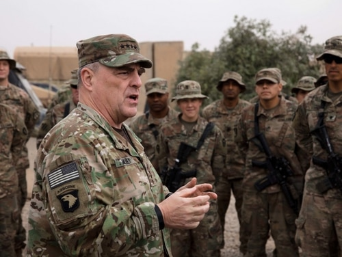 Army Chief of Staff Gen. Mark Milley speaks to soldiers at Qayyarah Airfield West, Iraq, in 2017. (Spc. Avery Howard/Army)