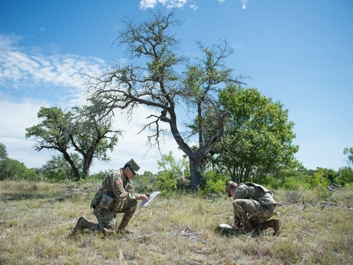 Texas National Guardsmen conduct land navigation training. (Texas Military Department)