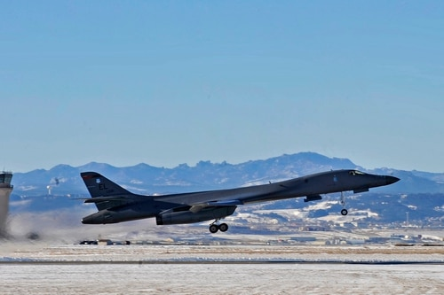 A B-1 bomber launches from Ellsworth Air Force Base, S.D., in December 2015. (Airman 1st Class JamesMiller/Air Force)