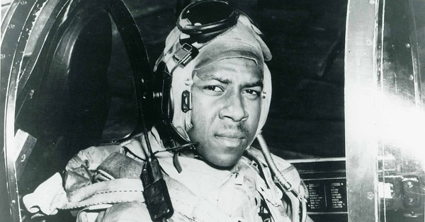 Ensign Jesse Brown, here in the cockpit of an F4U-4 Corsair, was the Navy's first black naval aviator. He was killed in action during the Korean War and posthumously awarded the Distinguished Flying Cross. (Navy)