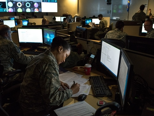 Cyber Command has said that the constant threat from adversaries will require persistent engagement below the threshold of conflict. (J.M. Eddins Jr./Air Force)
