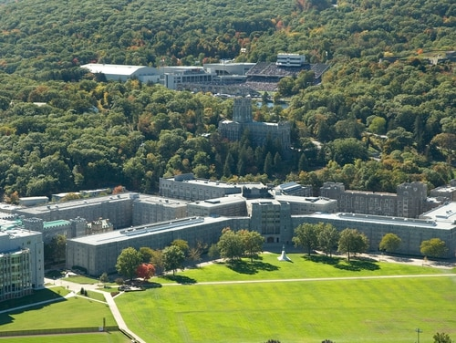 An aerial view of Washington Hall and the Cadet Chapel at the U.S. Military Academy at West Point, N.Y.