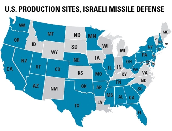Intercepting missiles for Arrow-3, David's Sling and Iron Dome are being built in large part in the United States through a network of prime partners, subcontractors and suppliers that extend across more than 30 of the 50 U.S. states. Those states are shown here in blue. (Barbara Opall-Rome/Staff)