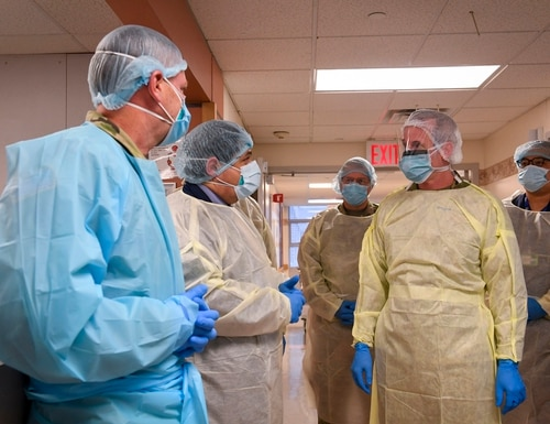 Gen. Terrence O'Shaughnessy, chief of U.S. Northern Command, speaks to military medical providers during a hospital visit. A Pentagon effort known as Project Salus provided predictive logistics tools for COVID-19 response to the command. (MC1 Kleynia R. McKnight/U.S. Navy)