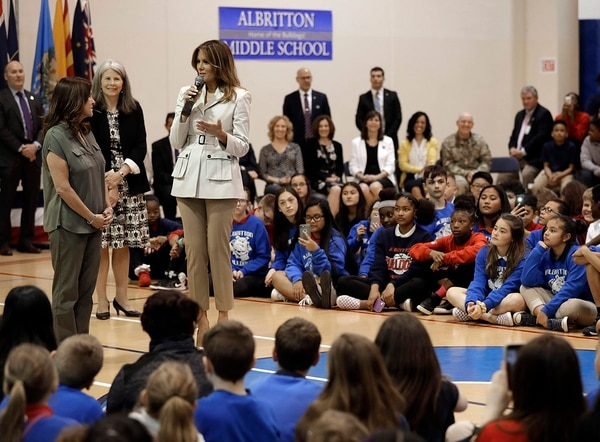 First lady Melania Trump, right, and second lady Karen Pence, left, speak to students at Albritton Middle School in Fort Bragg, N.C., Monday, April 15, 2019. (Chuck Burton/AP)