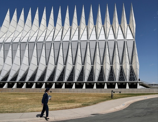 In this April 12, 2017, photo, the Cadet Chapel towers over the U.S. Air Force Academy campus outside Colorado Springs, Colo. The landmark Cadet Chapel is suffering from leaks and corrosion, so the school has drawn up the most ambitious restoration project in the building's 55-year history. (Thomas Peipert/AP)