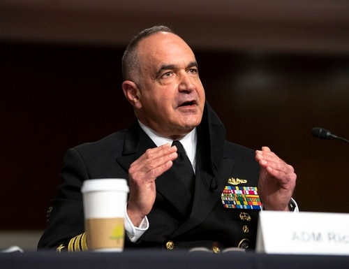 Adm. Charles Richard, commander of U.S. Strategic Command, testifies before the Senate Armed Services Committee in Washington on April 20, 2021. (EJ Hersom/DoD)