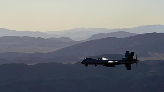 An MQ-9 Reaper flies over the Nevada Test and Training Range, July 15, 2019. (Senior Airman Haley Stevens/Air Force)