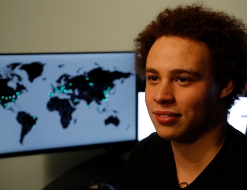 "CORRECTS FROM HUTCHIS TO HUTCHINS -British IT expert Marcus Hutchins who has been branded a hero for slowing down the WannaCry global cyber attack, during an interview in Ilfracombe, England, Monday, May 15, 2017. Hutchins thwarted the virus that took computer files hostage around the world, including the British National Health computer network, telling The Associated Press he doesn't consider himself a hero but fights malware because ""it's the right thing to do.'' (AP Photo/Frank Augstein)"