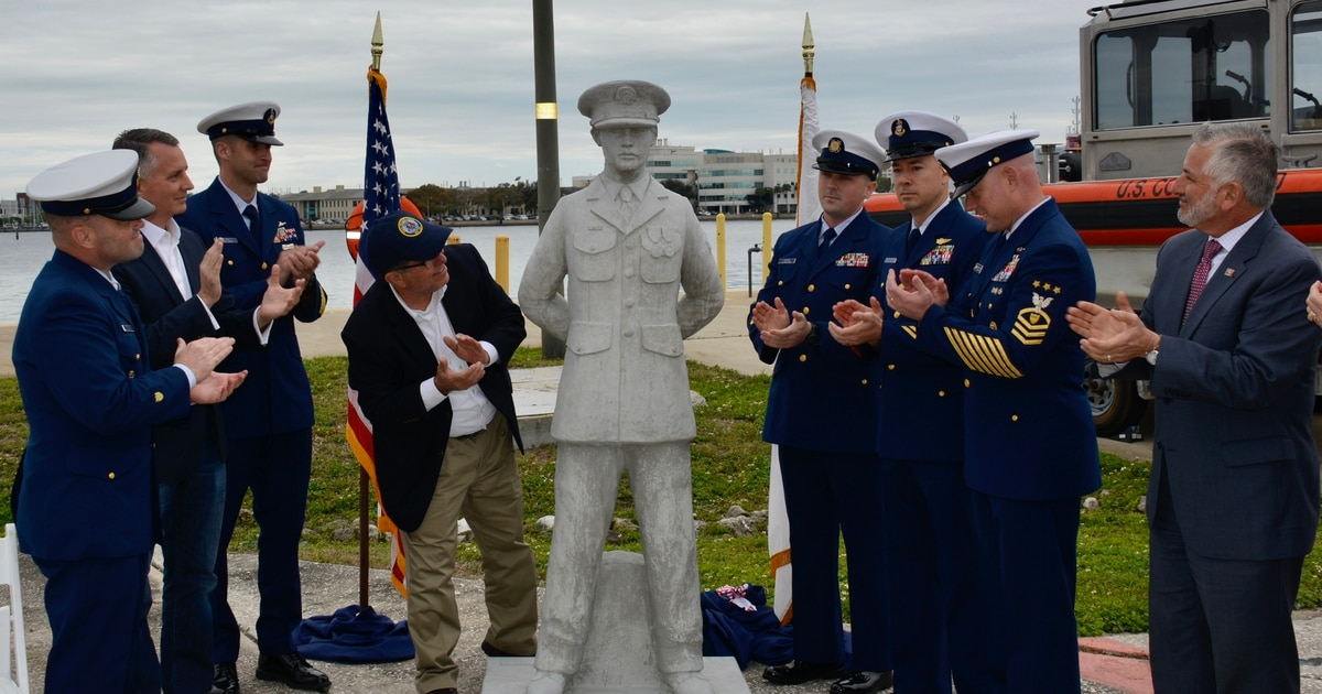 40 years after a heroic Coast Guardsman died in a collision, his statue joins underwater veterans memorial