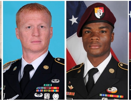 These images provided by the U.S. Army show, from left, Staff Sgt. Bryan C. Black, 35, of Puyallup, Wash.; Staff Sgt. Jeremiah W. Johnson, 39, of Springboro, Ohio; Sgt. La David Johnson of Miami Gardens, Fla.; and Staff Sgt. Dustin M. Wright, 29, of Lyons, Ga. All four were killed in Niger, when a joint patrol of American and Niger forces was ambushed on Oct. 4, 2017, by militants believed linked to the Islamic State group. (U.S. Army via Associated Press)