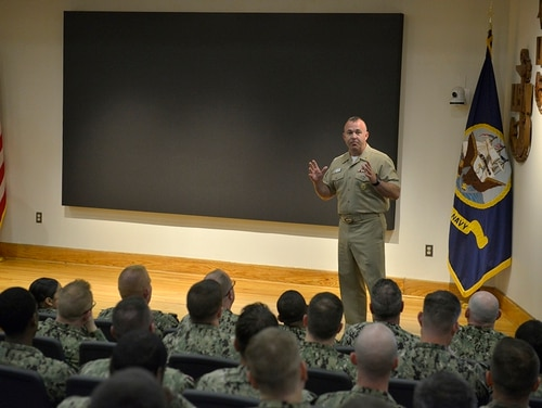 Navy Personnel Command Force Master Chief Scott Rossiter speaks at the U.S. Navy Senior Enlisted Academy on May 13 about changes in the Navy's personnel systems. One of the latest innovations is the MyNavy Assignment system. (Mass Communication Specialist 2nd Class Zachary Allan/Navy)