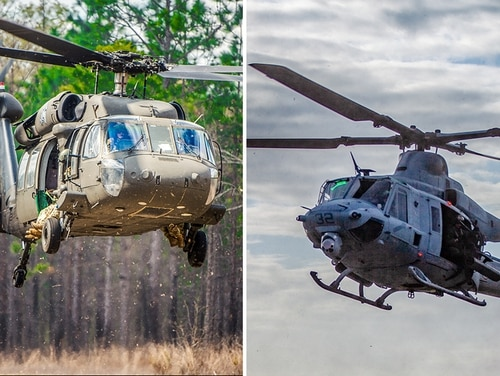 These photos show an Army UH-60 Black Hawk helicopter, left, and a UH-1Y Venom. The Future Long Range Assault Aircraft would replace both helicopters. (Patrick Albright/Army; Lance Cpl. Preston L. Morris/Marine Corps)