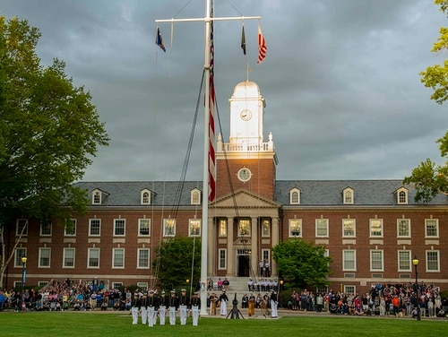 The U.S. Coast Guard Academy Corps of Cadets holds a sunset regimental review on May 20, 2018, in New London, Conn. (Petty Officer 3rd Class Nicole Foguth/Coast Guard)