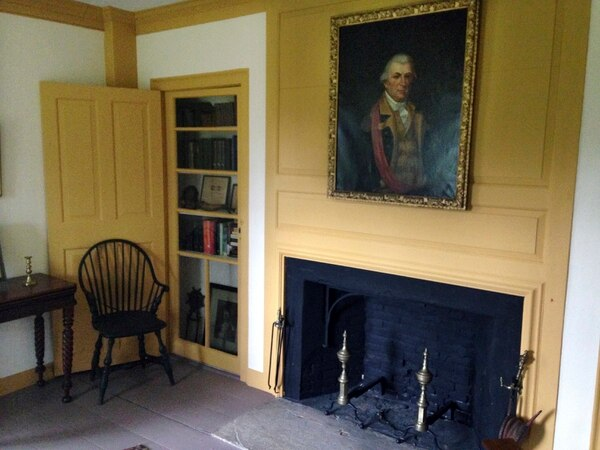 In this Tuesday, July 25, 2017 photo, a portrait of Nathanael Greene hangs in his 1770 homestead in Coventry, R.I. (Jennifer McDermott/AP)