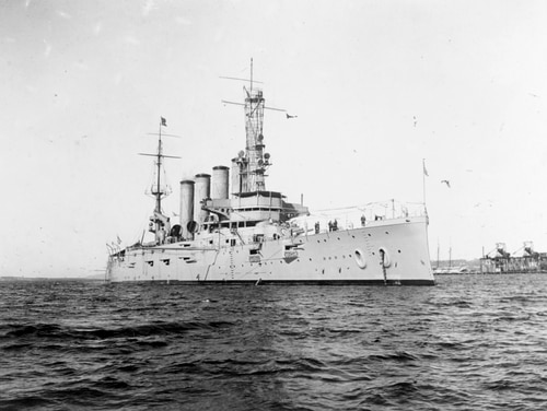 This Jan. 28, 1915 photo shows the armored cruiser San Diego while serving as flagship of the Pacific Fleet. On a clear summer day, July 19, 1918, an external explosion near the ship's engine room shook the warship. Weighed down with 2,900 tons coal for a planned voyage across the Atlantic Ocean, the vessel sank in just 20 minutes. Six crew members perished. (U.S. Naval History and Heritage Command via AP)