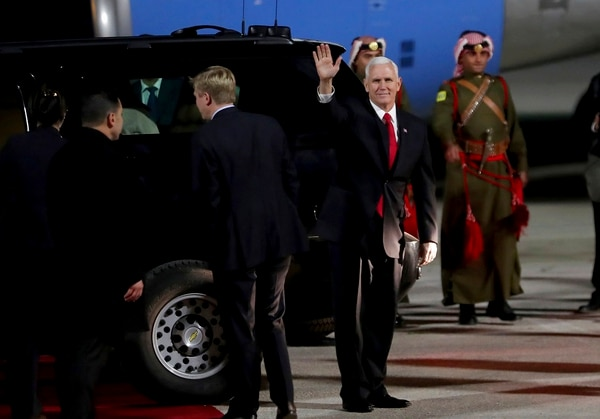 U.S. Vice President Mike Pence disembarks the plane upon his arrival at Amman military airport, Jordan, Saturday, Jan. 20, 2018. (Raad Adayleh/AP)