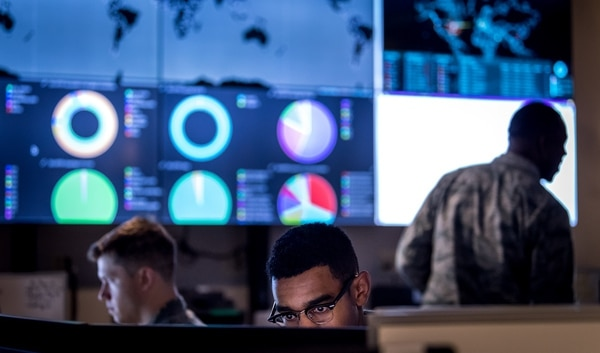 Cyberwarfare operators configure a threat intelligence feed for daily watch. (J.M. Eddins Jr./Air Force)