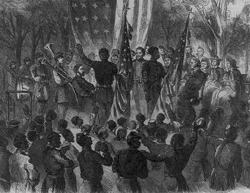 An engraving of 1st South Carolina Volunteers of African Decent at the Emancipation Day Ceremony at Camp Saxton, South Carolina, Jan. 1, 1863. (Library of Congress)