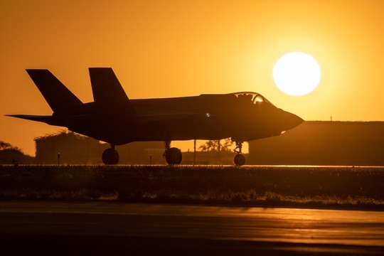 An F-35A taxis in front of the setting sun prior to takeoff from Hill Air Force Base, Utah, on Aug. 20, 2019. (R. Nial Bradshaw/U.S. Air Force)