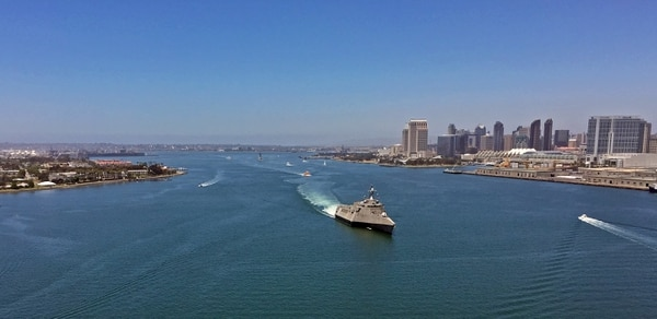 150623-N-ZS026-003 SAN DIEGO (June 23, 2015) The littoral combat ship USS Coronado (LCS 4) transits San Diego Bay while returning to Naval Base San Diego. Commissioned in 2014, Coronado is the third U.S. Navy ship to bear the name of the