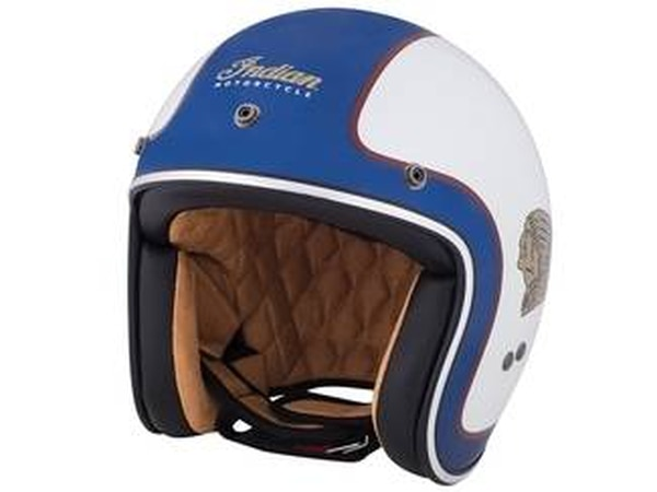Here's a classic-looking helmet from Indian that features a bold color palette along with killer side graphics of the Indian logo. (Indian Motorcycle)