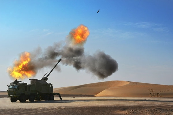 Serbia's Yugoimport has been chosen to provide the Nora B-52 155mm Howitzer System Firing Desert for the U.S. Army's mobile howitzer shoot-off scheduled to take place in early 2021. (Photo courtesy of Global Military Products)