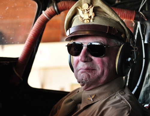 D-Day pilot David Hamilton in the cockpit of the WWII Airborne Demonstration Team's