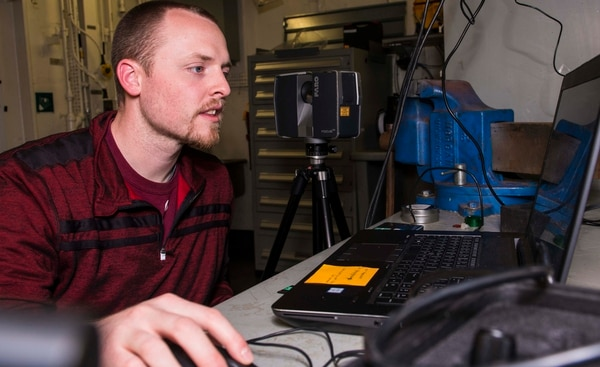 Scott Storms, Naval Surface Warfare Center Philadelphia, creates a 3D layer model on April 2 for print onboard the Navy's dry cargo ship Sacagawea in support of an additive manufacturing test phase. (Mass Communication Specialist 3rd Class Christopher A. Veloicaza/Navy)