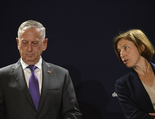 US Defense Secretary Jim Mattis (L) listens to French Defence Minister Florence Parly during a press conference after their meeting at the French Defence ministry in Paris on October 2, 2018. (Lionel Bonaventure/AFP/Getty Images)