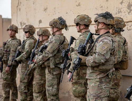U.S. soldiers conduct a base defense exercise on Camp Taji, Iraq, Jan. 19, 2020. (Spc. Caroline Schofer/Army)