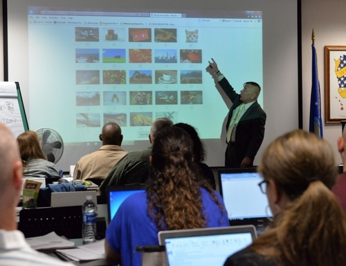 Anthony Weeks, 88th Force Support Squadron veteran affairs benefits advisor, shows students the eBenefits website during a class session for the Transition Assistance Program Oct. 21, 2016 at Wright-Patterson Air Force Base, Ohio. (U.S. Air Force/Michelle Gigante)