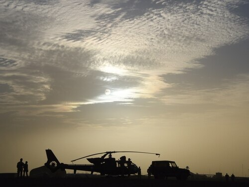 A French Gazelle helicopter is seen at a base near Goa on Jan. 2, 2015. Goa was re-taken by French and Malian forces in January 2013 after driving out the controlling Islamists from the city. (Dominique Faget/AFP/Getty Images)