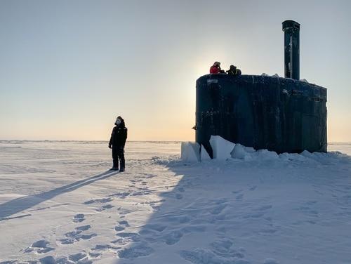 USS Toledo (SSN-769) arrives at Ice Camp Seadragon on the Arctic Ocean kicking off Ice Exercise (ICEX) 2020. (MC1 Michael B. Zingaro/Navy)