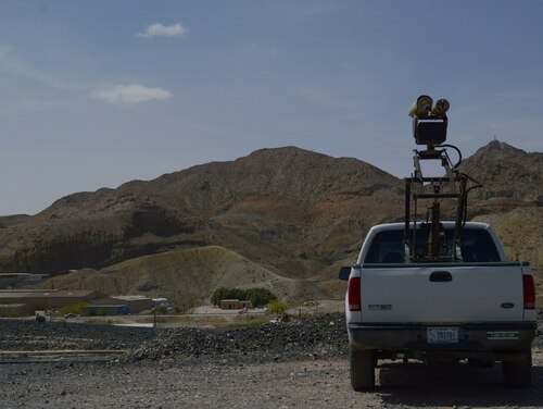 A Mobile Surveillance Camera sits near the Santa Teresa Port of Entry New Mexico on April 3, 2019. The equipment is part of efforts by the Army's 1-37 Field Artillery Battalion to provide support to border security efforts. (Sgt. 1st Class TaWanna Starks/Army)