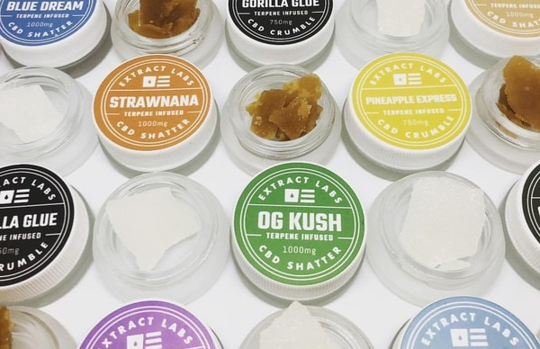 A number of shatter and crumble CBD products that Extract Labs produces. (Extract Labs)