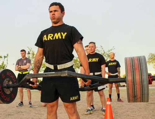 Spc. Briceton Lowrie, with the 2nd Battalion, 198th Armored Regiment, conducts a dead lift as part of the ACFT. (Sgt. Brittany Johnson/Army National Guard)